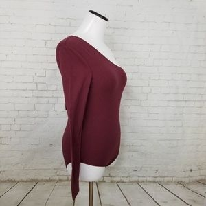 Walter Baker Tops - Walter Baker Burgundy Janet One Shoulder Bodysuit